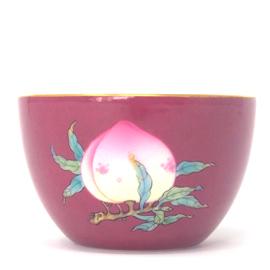 居和堂 臙脂紅粉彩三果蓮子杯